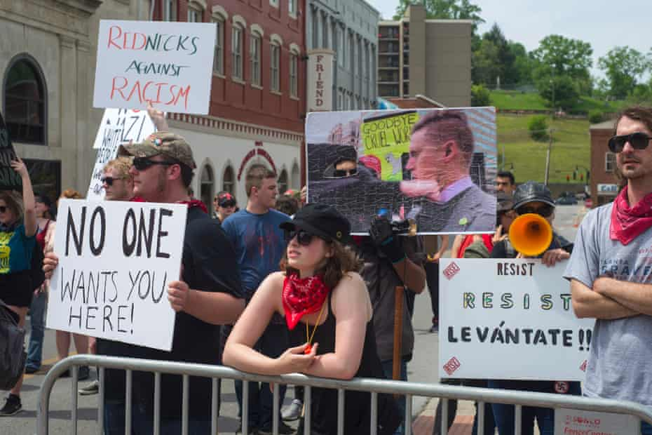 'Rednecks against racism': Anti-fascist protesters in downtown Pikeville.