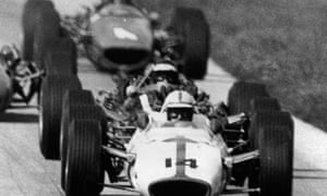John Surtees on his way to victory in the Italian grand prix at Monza in 1967.