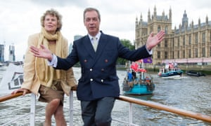 Nigel Farage with Kate Hoey on the pro-Brexit flotilla in 2016.