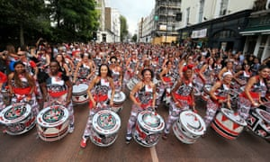 Samba drumming band Batala perform in the Monday parade during the second and final day of the Notting Hill Carnival, west London. PRESS ASSOCIATION Photo. Picture date: Monday August 29, 2016. See PA story SOCIAL Carnival. Photo credit should read: Jonathan Brady/PA Wire