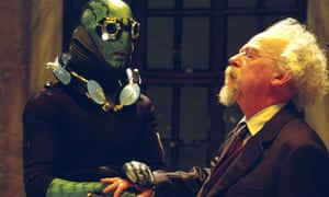Doug Jones as Abe Sapien and Hurt as Trevor Bruttenholm in Guillermo del Toro's 2004 movie Hellboy
