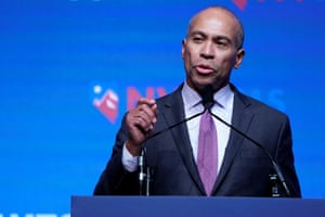Deval Patrick appears on stage at a First in the West Event in Las Vegas, Nevada.