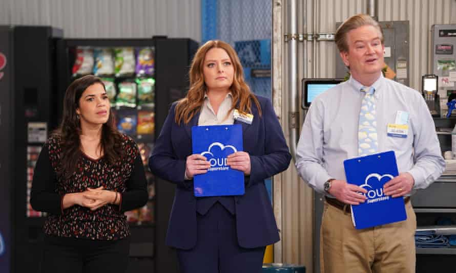 Trying to achieve a more perfect union … (l-r) America Ferrara, Lauren Ash and Mark McKinney in Superstore.