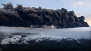 A plume of volcanic ash rises into the atmosphere, from a crater under the Eyjafjallajokull glacier in southern Iceland. The ash cloud turned the skies of northern Europe into a no-fly zone.