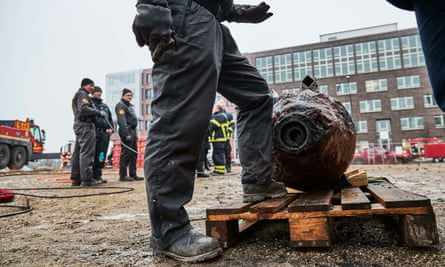 'Allied bombs were notoriously unreliable' … a 1,000kg bomb found in Hamburg's harbour, January 2017.