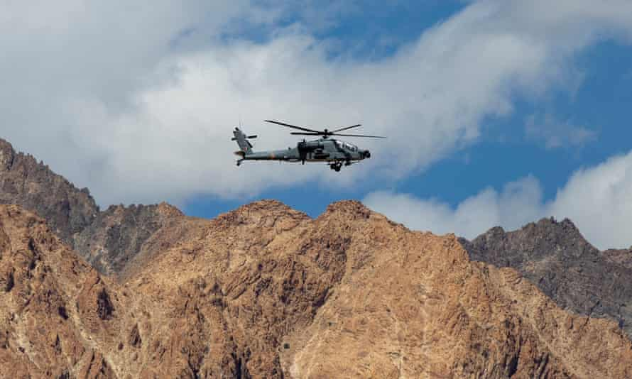 An Indian air force Apache helicopter over the Ladakh region on 17 September.