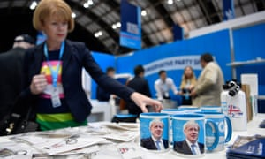 Boris Johnson mugs on sale at the Conservative party conference in Manchester.