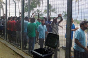 Protesters at the Manus Island immigration processing centre in May 2016