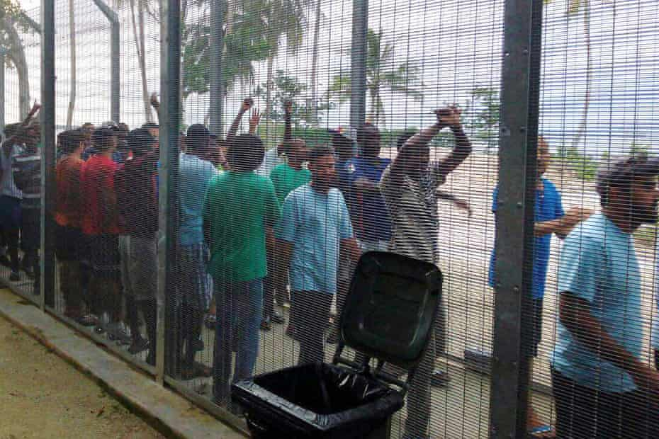 Protesters at the Manus Island immigration processing centre in May
