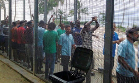 Protesters at the Manus Island centre.