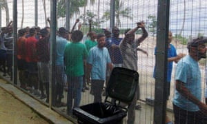 Asylum seekers protest at the Manus Island detention centre over the weekend.