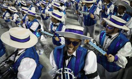 Members of the Grande Rio samba school parade in the Sambadrome Marques de Sapucai during Carnival 2020 in Rio de Janeiro, Brazil, 24 February 2020.
