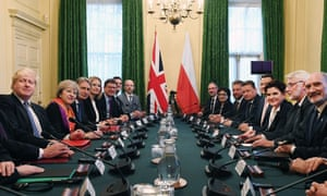 Theresa May (second from the left) and her Polish opposite number Beata Szydło (third from the right) during talks in number 10 Downing Street.