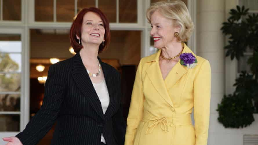 Gillard with former governor general Quentin Bryce