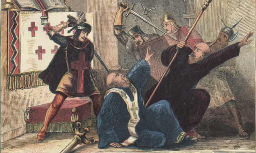 A depiction of the assassination of Thomas Becket, English saint, martyr, knight, chancellor and archbishop of Canterbury, is brutally murdered by four knights, Hugh de Merville, William de Tracy, Reginald Fitzurse and Richard le Breton, in Canterbury Cathedral at the request of King Henry II, 1170. (Photo by Hulton Archive/Getty Images) landscape;color;cathedral;aggression;violence;male;weapon;sword; Leaders;Personality;English;British;Europe;England;Britain;P5234 4729;P/BECKET/THOMAS CANTERBURY/(1118-1170);1170