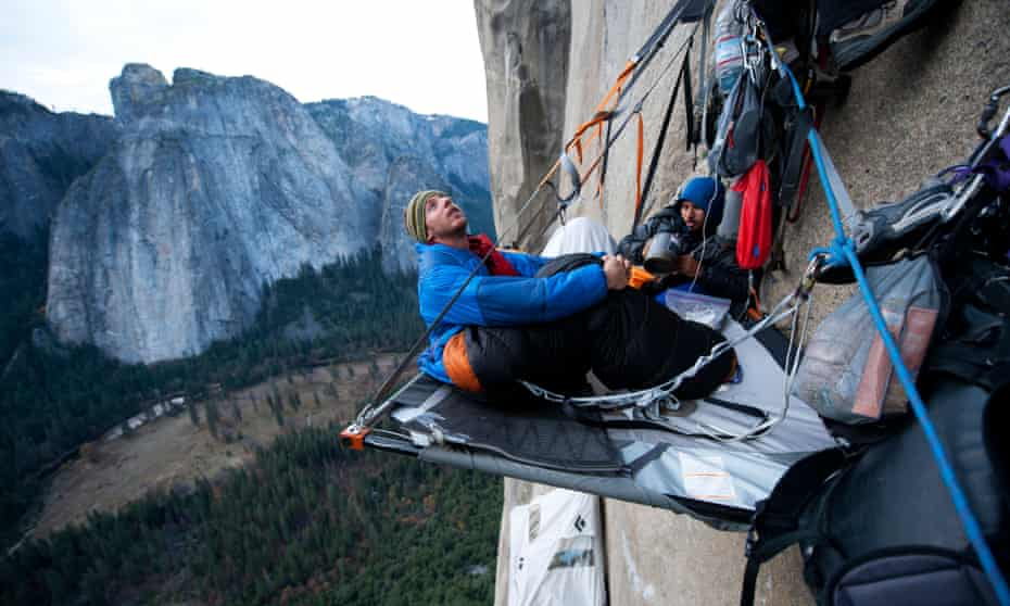 Climbers camp overnight as they summit the Dawn Wall in Yosemite national park.