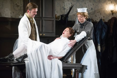Jason Hughes (Dr Givings), Flora Montgomery (Sabrina Daldry) and Sarah Woodward (Annie) In The Next Room or The Vibrator Play by Sarah Ruhl.
