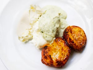A different peaches and cream: grilled peaches with mozzarella.