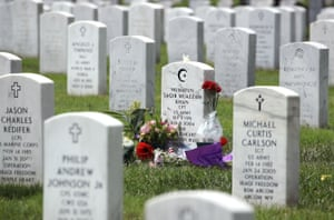 The gravesite of Capt Humayun Khan is shown at Arlington National Cemetary.