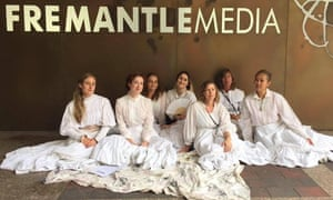 Members of the Women in Film and Television advocacy group protest against the decision to hire a female Canadian director instead of an Australian for the TV remake of Picnic at Hanging Rock