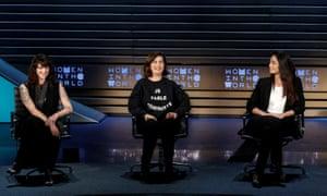 Asia Argento, Laura Boldrini and Ambra Battilana Gutierrez at the Women in the World summit in New York on 12 April.