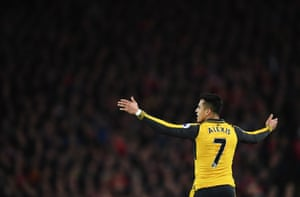 Alexis Sanchez looks frustrated at Anfield.