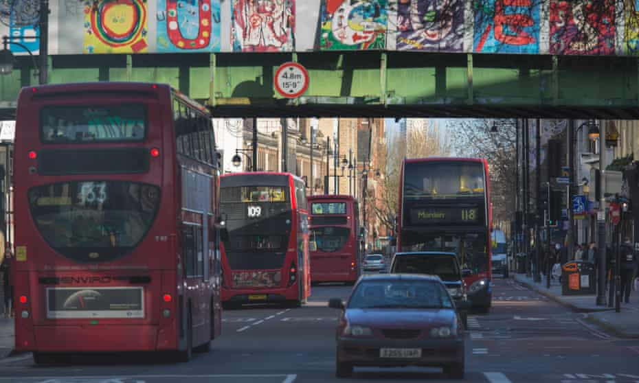 Traffic in Brixton road.