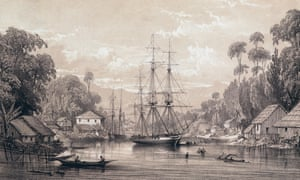 The British ship Dido off the coast of Sarawak, Borneo, 1843, by George Hawkins the Younger.