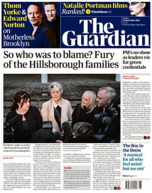 The Guardian front page, Friday 29 November 2019