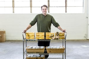 Ric Gebel, grandson of Salt-Water shoe company founder Walter Hoy, with a trolley of shoes
