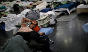 Evacuees of the powerful storm are taking shelter across the city, including here at the