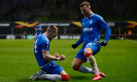 Ryan Kent celebrates with Florian Kamberi after scoring for Rangers in their Europa League last-32 second leg against Sporting Braga.