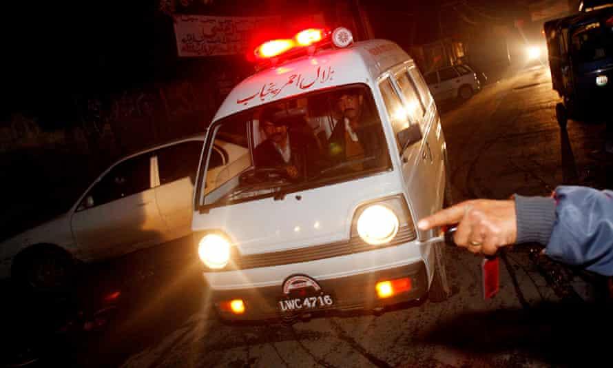 File photo of an ambulance outside Lahore's Mayo hospital