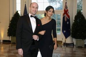 Donald Trump attended the wedding of senior adviser Stephen Miller and Katie Waldman.