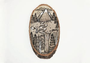 Scenic Illustrations of mountainscapes drawn on tree and branch wood sections by Greek graphic designer Meni Chatzipanagiotou.