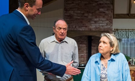 Oliver Chris as Joe, James Bolam as Jack and Anne Reid as Elizabeth in Fracked! Or: Please Don't Use The F-Word by Alistair Beaton at the Minerva, Chichester.