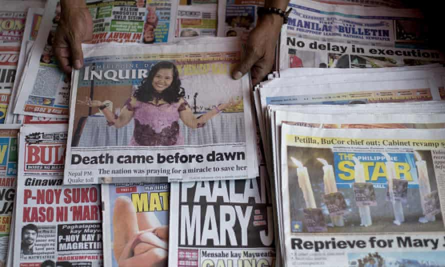 Some of the Philippines' newspapers' headlines saying Mary Jane Veloso had been executed.