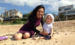 Tahmima Anam and infant son on the beach