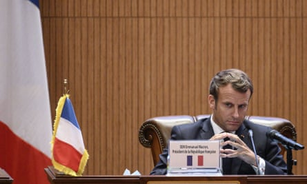 French President Emmanuel Macron gives a press conference  in Mauritania