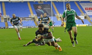 London Irish and Bath in action at the Madejski Stadium.