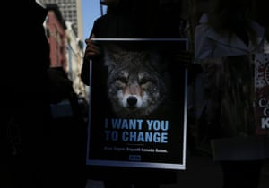 Peta protesters outside a Canada Goose store in New York City.