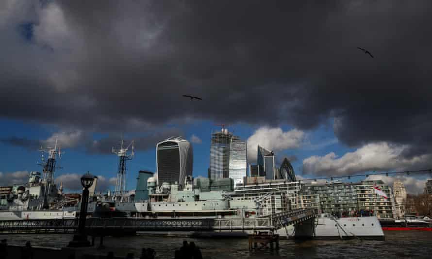 City of London under black cloud