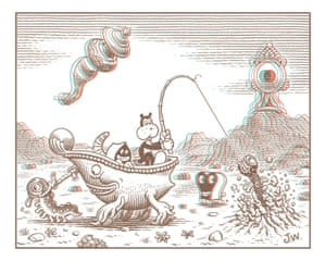 A page from Frank in the Third Dimension by Jim Woodring, rendered in 3D by Charles Barnard