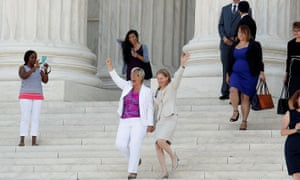 Plaintiff celebrates outside the Supreme Court in WashingtonLead plaintiff Amy Hagstrom-Miller, (L), president and CEO of Whole Woman's Health and Nancy Northup, president and chief executive of the Center for Reproductive Rights, wave in celebration to supporters as they walk down the steps of the U.S. Supreme Court after the court handed a victory to abortion rights advocates, striking down a Texas law imposing strict regulations on abortion doctors and facilities in Washington June 27, 2016. REUTERS/Kevin Lamarque