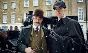 Martin Freeman as John Watson and Benedict Cumberbatch as Sherlock Holmes.
