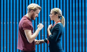 Jack Lowden (Angelo) and Hayley Atwell (Isabella) in Measure for Measure at the Donmar Warehouse.