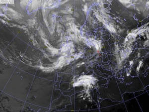 Stratocumulus volutus. The bright white cloud over western Poland is an area of thunderstorms approaching