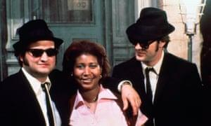 Aretha Franklin con John Belushi y Dan Aykroyd