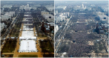 Crowds on the National Mall for the inauguration ceremonies of Donald Trump (L) in 2017 and Barack Obama in 2009.