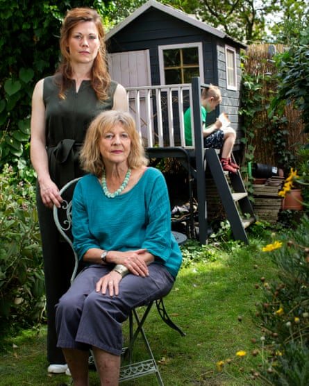 Lottie (left) and Deborah Moggach with Kit, who was three when his father was sent to jail